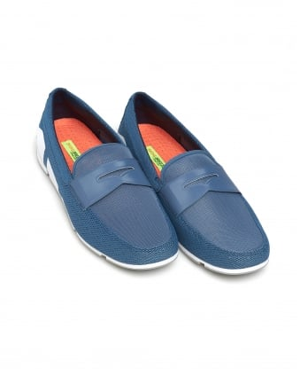 Mens Breeze Penny Loafer, Slate Blue White Grey Shoes