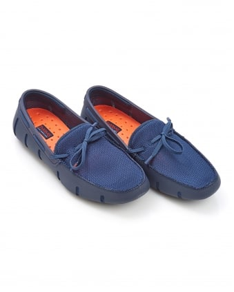 Mens Lace Front Navy Blue Loafer Shoes