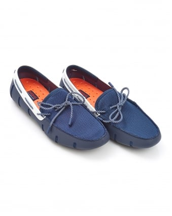 Mens Lace Front Navy White Loafer Shoes