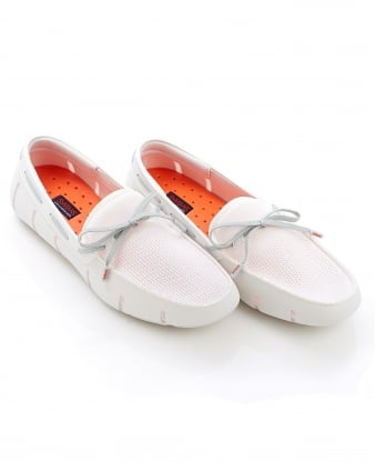 Mens Lace Front White Grey Loafer Shoes
