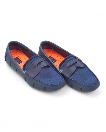 Mens Slip On Penny Loafer Navy Blue Shoe