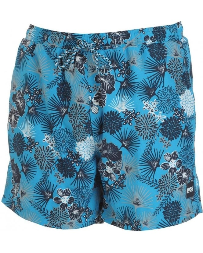 Hugo Boss Black Swimshorts Blue Piranha Tropical Flower Swimwear 50237988