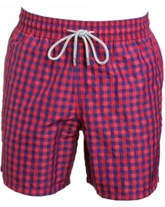 Swimwear, Red Gingham Swim Shorts