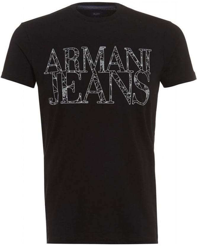 Armani Jeans T Shirt Black Spider Web Letter Logo Tee