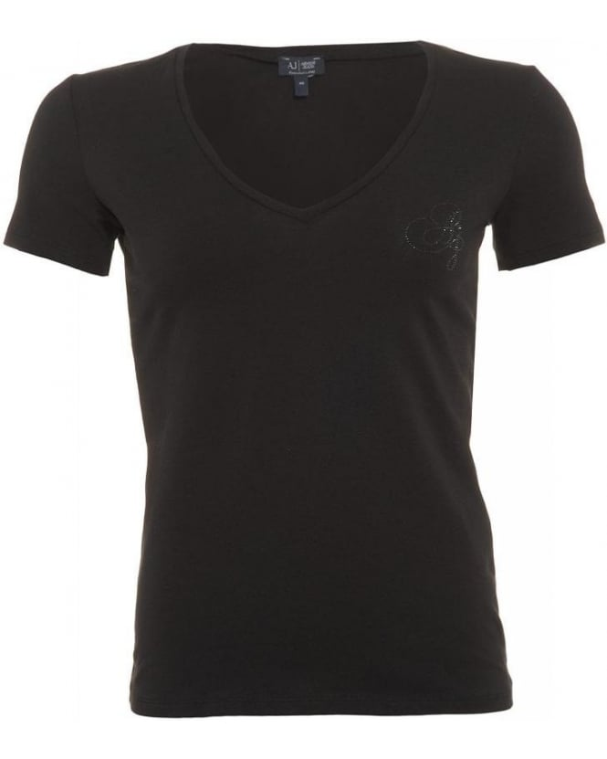Armani Jeans T-Shirt, Black V Neck Crystal Logo Top