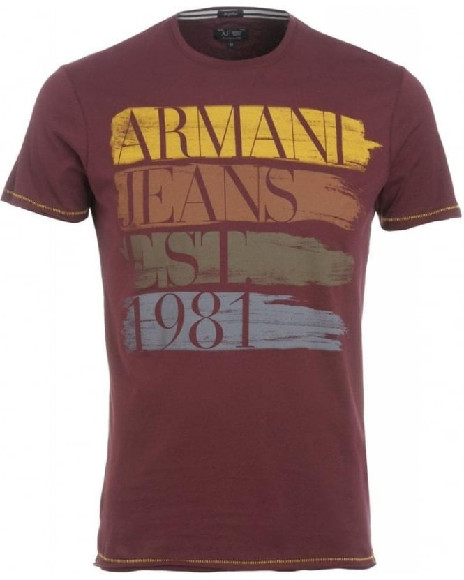Armani Jeans T-Shirt, Bordeaux Paintbrush Effect Logo Tee