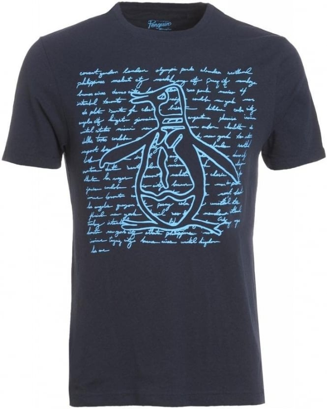 Original Penguin T-Shirt, Dark Sapphire Script City Graphic 'Pete Cities' Tee