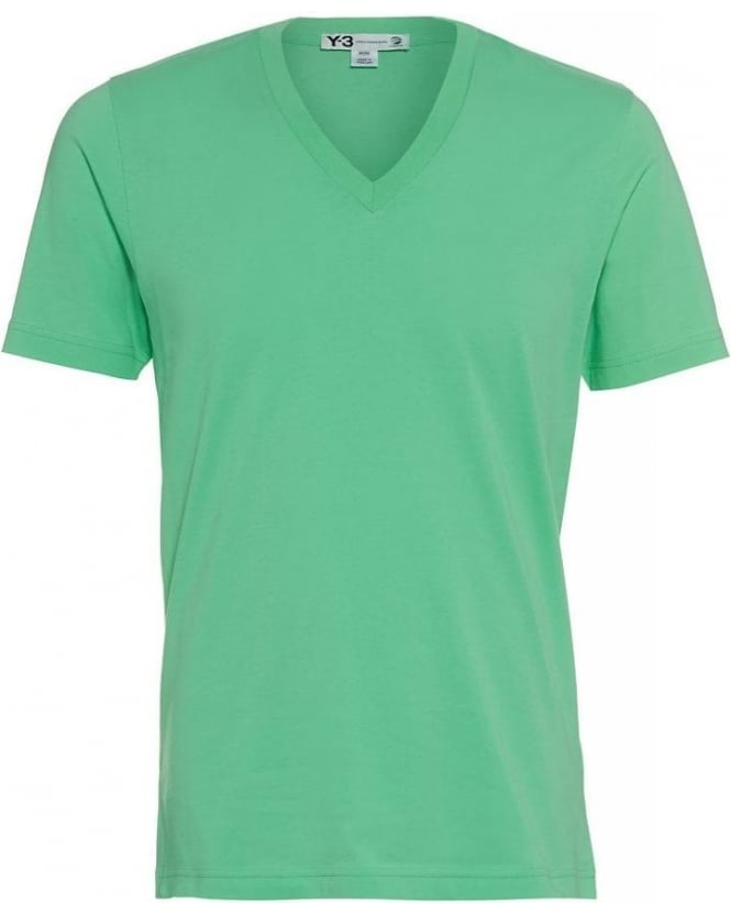 Y-3 T Shirt Flash Green V Neck Logo Tee