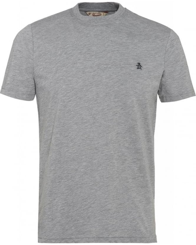 Original Penguin T-Shirt, Grey Basic Regular Fit Logo Tee