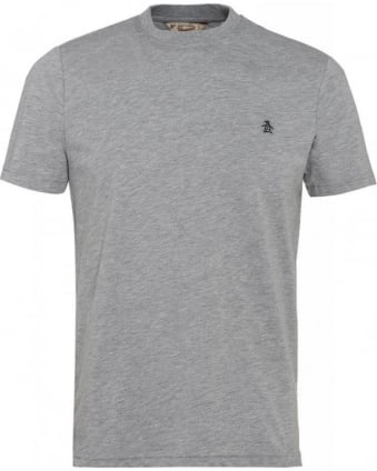 T-Shirt, Grey Basic Regular Fit Logo Tee