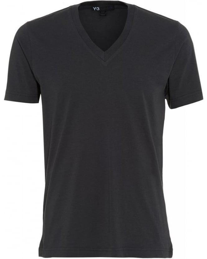 Y-3 T Shirt Grey Plain V Neck Logo Tee