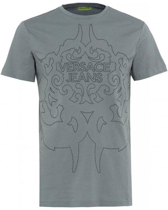 Versace Jeans T-Shirt Grey Silver Studded Logo Tee