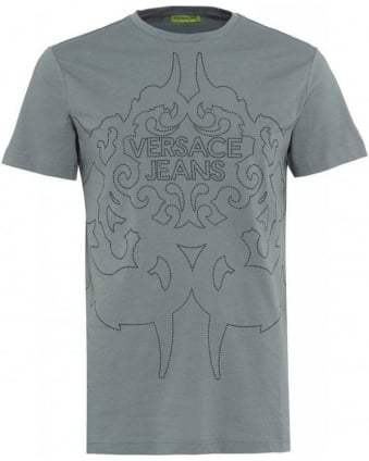 T-Shirt Grey Silver Studded Logo Tee