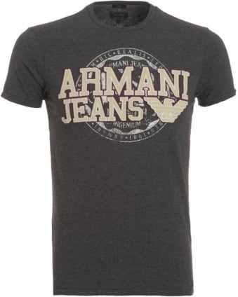 T-Shirt, Grey Slim Fit Tee With Applique Chest Logo