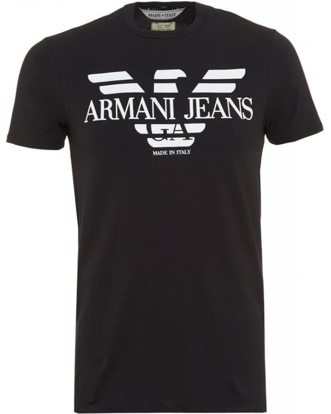 Armani Jeans T-Shirt, Navy Blue Made In Italy Slim Fit Tee