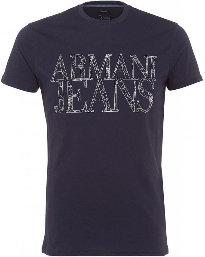 Armani Jeans T Shirt Navy Blue Spider Web Letter Logo Tee