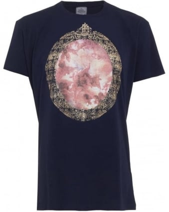 T-Shirt Navy Cherub Print Regular Fit Tee