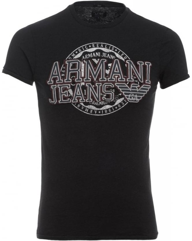 Armani Jeans T-Shirt, Navy Slim Fit Tee With Applique Chest Logo