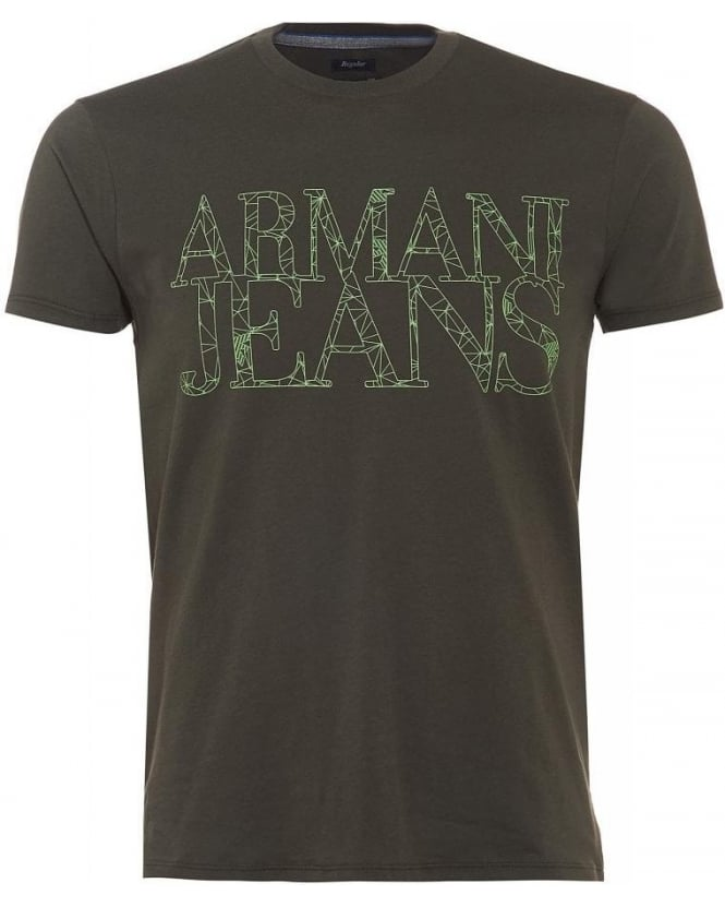 Armani Jeans T Shirt Olive Green Spider Web Letter Logo Tee