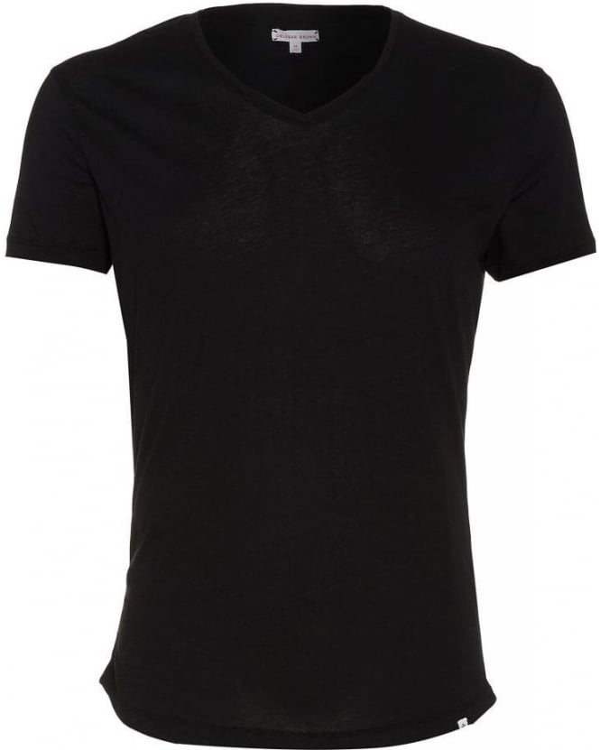 Orlebar Brown T-shirt Plain Black OB V Neck 'Bobby' Tee