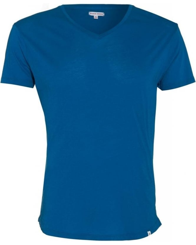 Orlebar Brown T-shirt Plain Blue Dive Blue OB V Neck 'Bobby' Tee