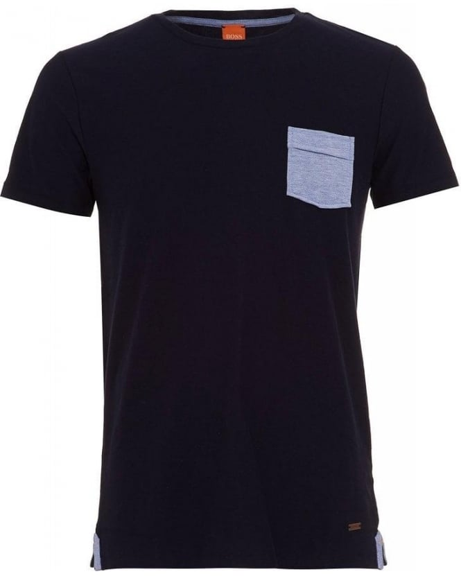 Hugo Boss Orange T-Shirt, 'Thallis' Navy Regular Fit Pocket Tee