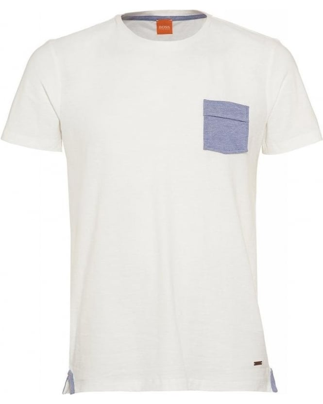 Hugo Boss Orange T-Shirt, 'Thallis' White Regular Fit Pocket Tee