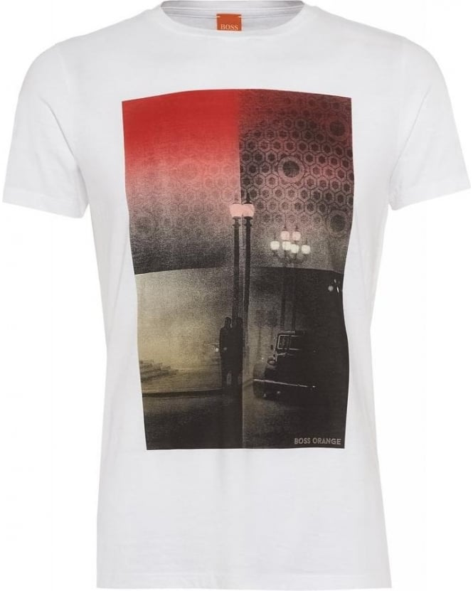 Hugo Boss Orange T-shirt, 'Thiemon 1' Street Print Fashion Fit White Tee