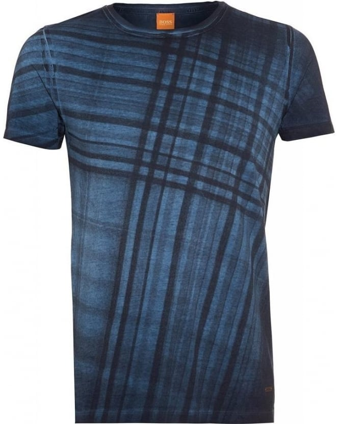 Hugo Boss Orange T-Shirt, 'Tobit' Navy Digital Tartan Print Slim Fit Tee