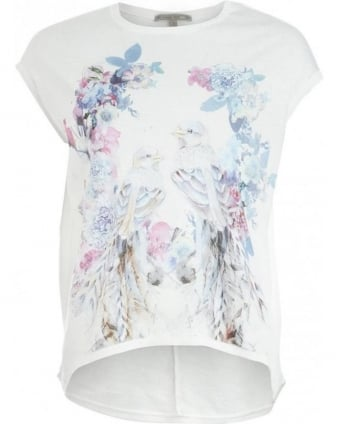 T-Shirt, White Bird And Flower Print Top