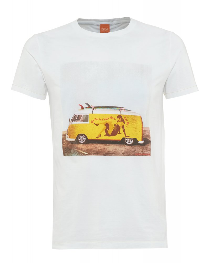 hugo boss orange t shirt white camper van 39 tavey 4 39 tee. Black Bedroom Furniture Sets. Home Design Ideas