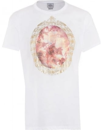 T-Shirt White Cherub Print Regular Fit Tee