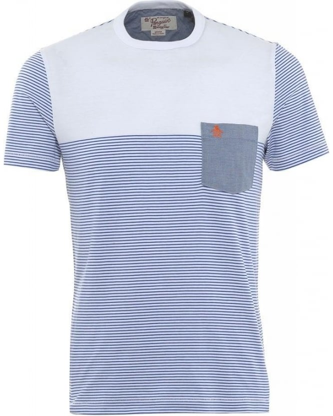 Original Penguin T-Shirt, White Fine Stripe Block Tee