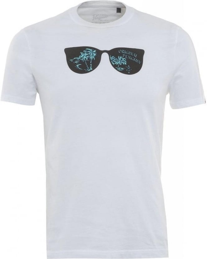 Original Penguin T-Shirt, White Hula Sunglasses Print Tee