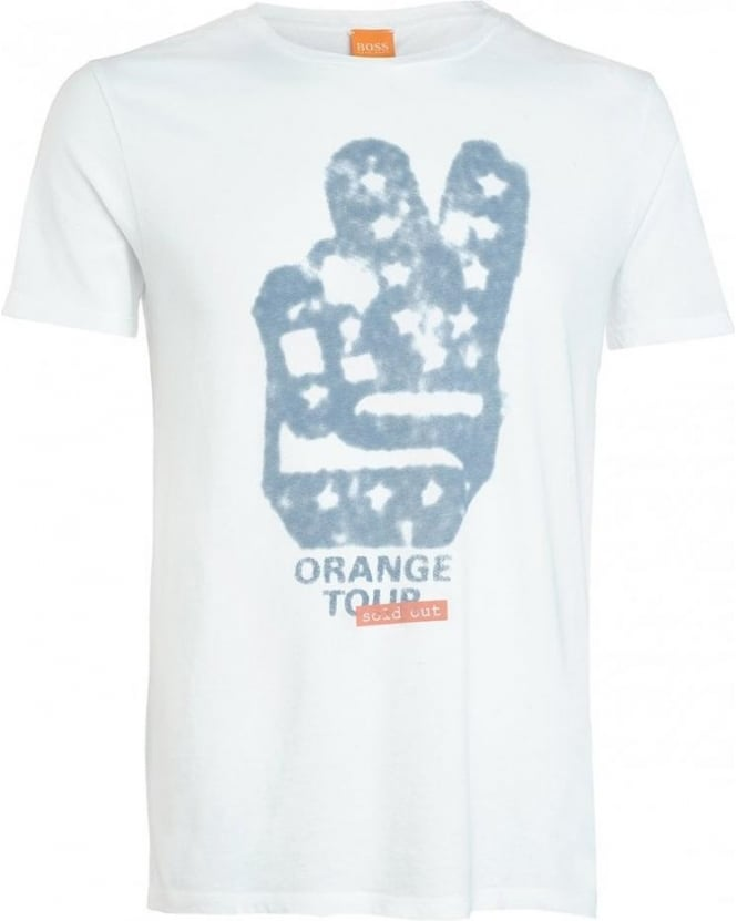 Hugo Boss Orange T-Shirt, White Peace Sign 'Thando 2' Tee