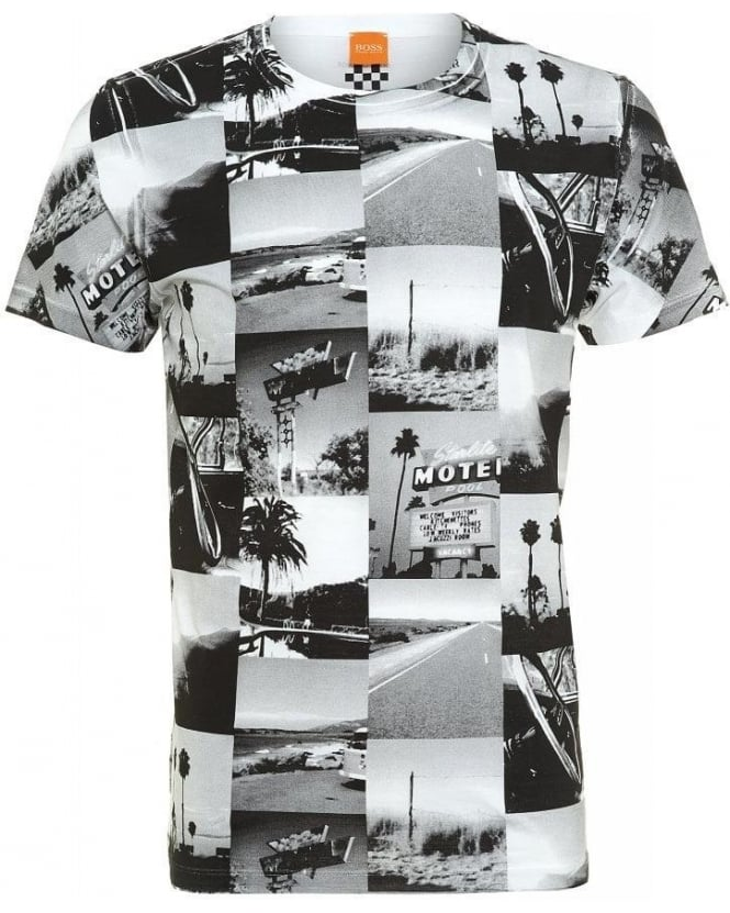 Hugo Boss Orange T-Shirt, White Road Trip Scenes 'Tavey 6' Tee