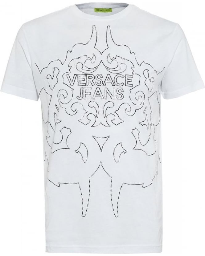 Versace Jeans T-Shirt White Silver Studded Logo Tee