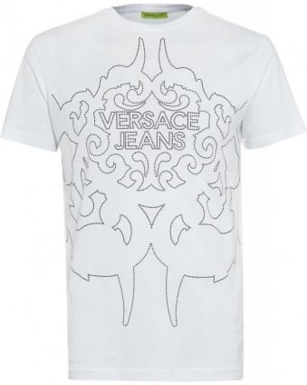 T-Shirt White Silver Studded Logo Tee