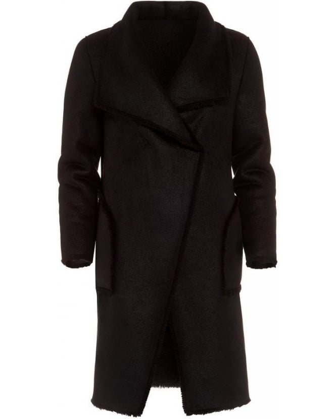 Velvet by Graham & Spencer Tangy Black Reversible Faux Shearling Sherpa Coat