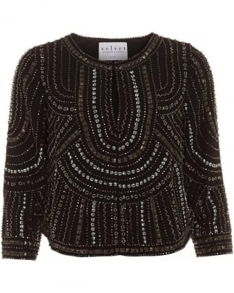 Tansy Nailhead Embellished, Cropped Statement Jacket