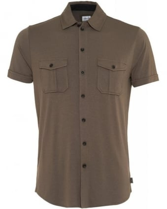Taupe Brown Jersey Slim Fit Shirt
