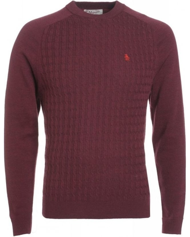 Original Penguin Tawny Port Red Jumper Merino Knitwear
