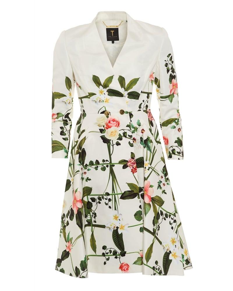 Giova Ladies Coat Secret Trellis Textured Cream Full Skirt Coat