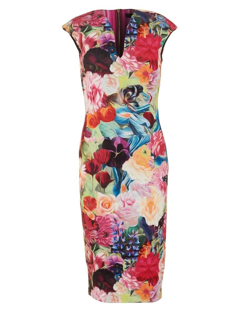 Ted Baker Womens Odeela Dress, Floral Swirl Fuchsia Bodycon Midi
