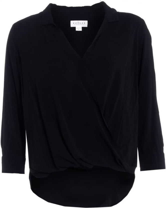 Velvet by Graham & Spencer Tenile Womens Blouse Black Challis Crossover Shirt