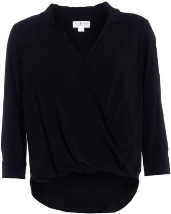Tenile Womens Blouse Black Challis Crossover Shirt