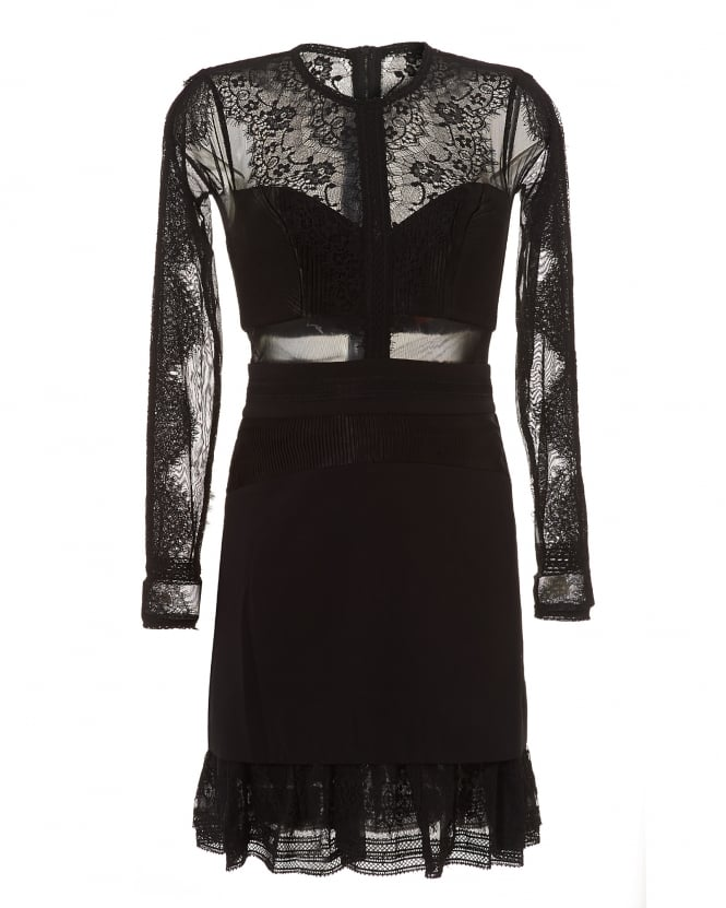Three Floor Womens Black Bonjour Lace Long Sleeve Frilled Dress