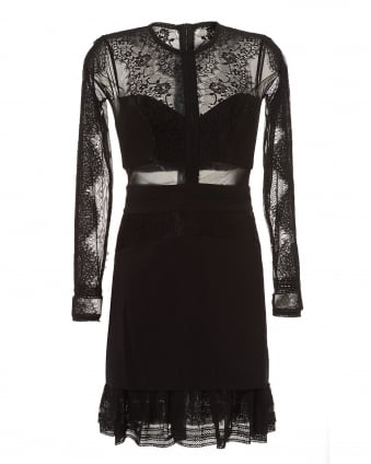 Womens Black Bonjour Lace Long Sleeve Frilled Dress