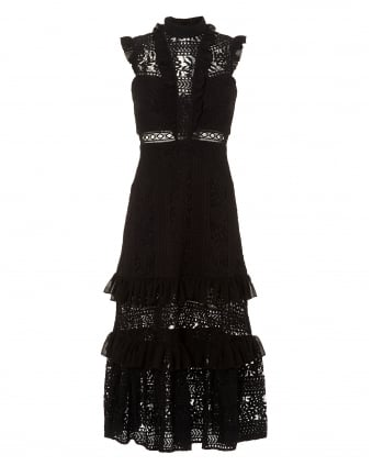 Womens Black Boulevard Tiered Frill Lace Midi Dress