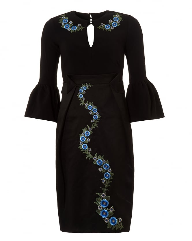 Three Floor Womens Black Emblem Embroidered Bell Sleeve Dress